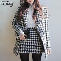 Ellacey Autumn Winter Fashion Houndstooth Woolen Coat + Mini Skirt Suit Women 2 Piece Set Ladies' Temperament Plaid Blazer Suit