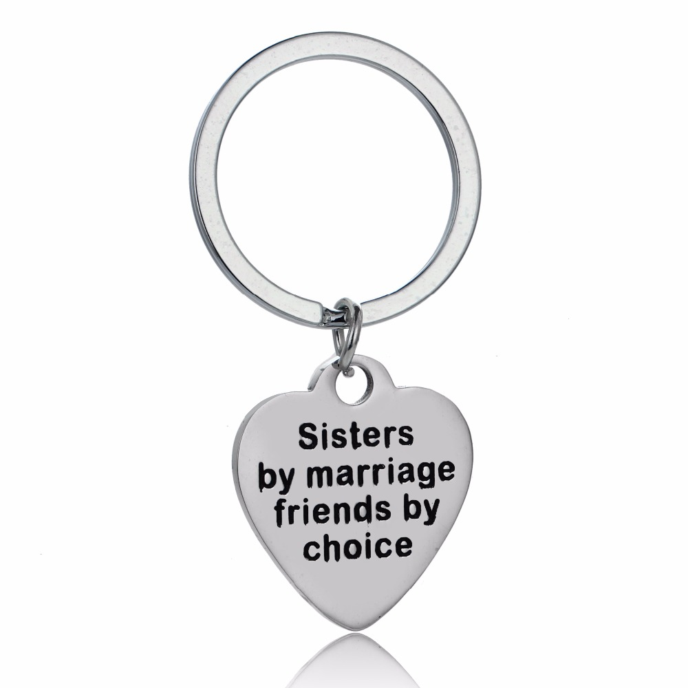 12PC/Lot Family Love Women Sis Heart Keychain Sisters By Marriage Friends By Choice Keyring Stainless Steel Car Bags Keyfob Gift