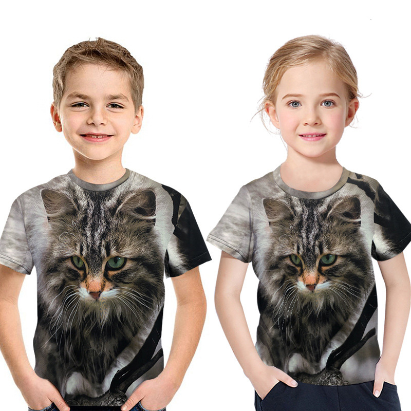 Kids T-Shirt Girl Tops Short-Sleeve Fashion Summer New Cat Big Face Animal 3d-Printing