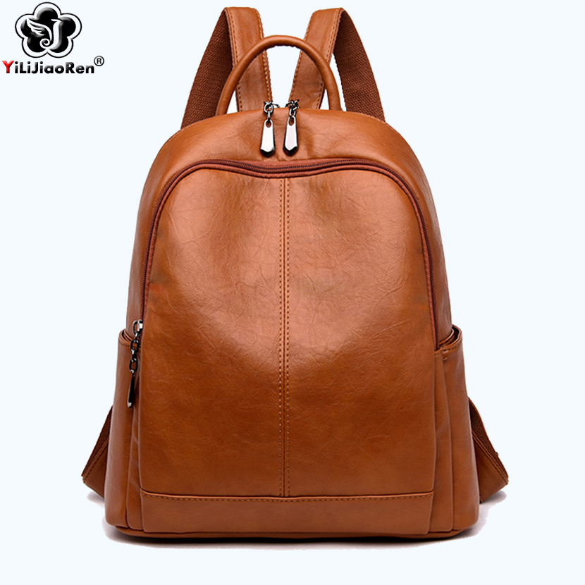 Casual Women Backpack Famous Brand Leather Backpack Female 2019 Large Capacity School Bag Bookbag Simple Shoulder Bags For Women