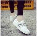 Arte da lona branca sapatos sapatos casuais senhoras sapatos de Plataforma com solado grosso Sapatos Estudantis