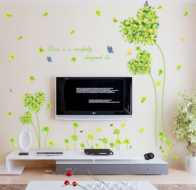 Fresh Green Love Heart Arts Grass Wall Stickers Vanilla Plants - Custom vinyl wall decals cheap   how to remove