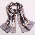 Femme фуляры Soie Де Марка Шелковый Шарф Мужчин Британская style100 % чистого Шелка, Длинные Шали Double Face Атласная Шелковые Платки и шарфы