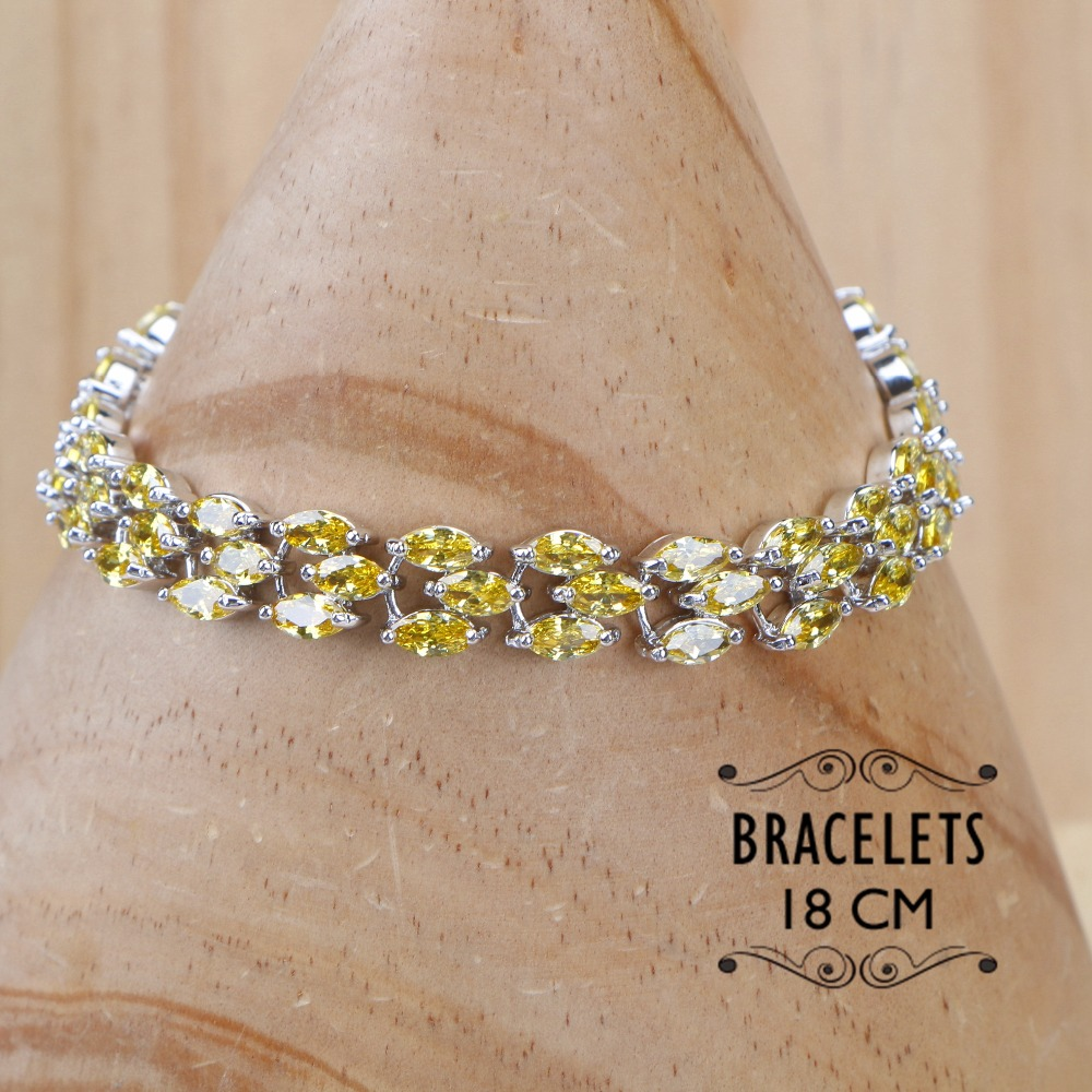 Image 2 - 925 Sterling Silver Yellow Zirconia Bridal Jewelry Sets Women Stone Clips Earrings Bracelets Necklace Ring Set Gifts Jewelry BoxBridal Jewelry Sets   -