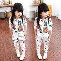 Conjuntos de Roupas meninas Miúdos Roupas de Inverno Fashion Girl Floral Jacket + Calças dos Ternos Do Esporte Roupa Das Crianças Criança Roupas de Primavera