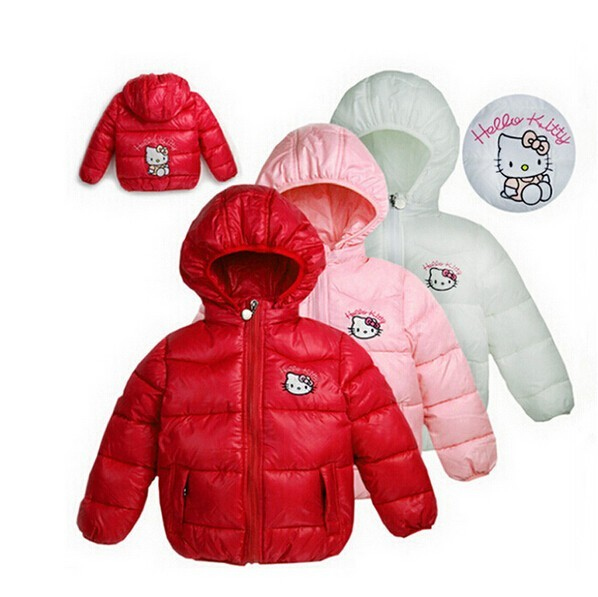 New 2015 girls winter Hello Kitty Jacket Children Casual Hooded Vest Kids Windbreaker Coats Baby Warm Clothes 4 Color