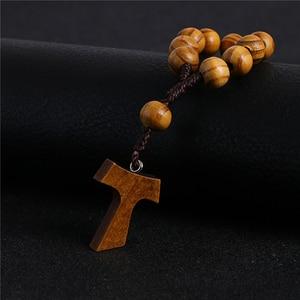 Image 4 - Komi 10mm Wooden Beads Rosary Finger Chain Prayer Bracelet 11pc Beads Bracelets Handmade Religious Jewelry R 070