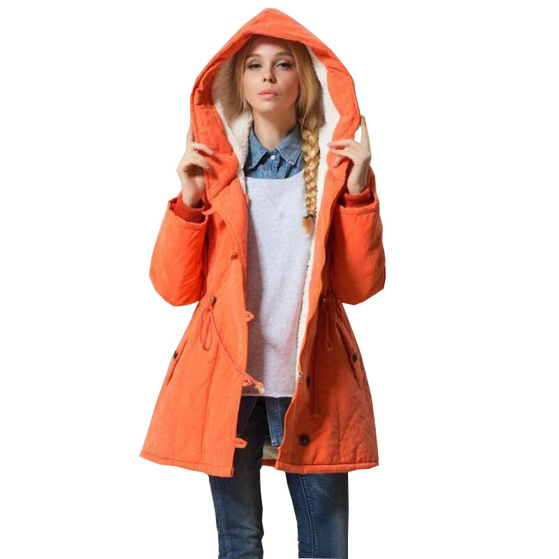 New Winter Slim Lamb Wool Hooded Jacket Parka with Drawstring Coat Female Women Down cotton Jacket Plus Size 4XL s941 2017 new fashion women long coat cotton padded clothes thicken winter female parkas lamb wool hooded drawstring jacket plus size