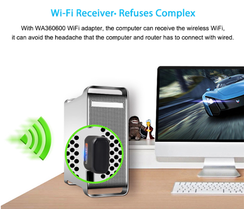 Image 3 - USB WiFi Adapter Ethernet Wi Fi Adapter USB Lan Card 5G Network 600 Mbps Dual Band Wireless Wi Fi Adapter Antenna Wifi Receiver-in Network Cards from Computer & Office