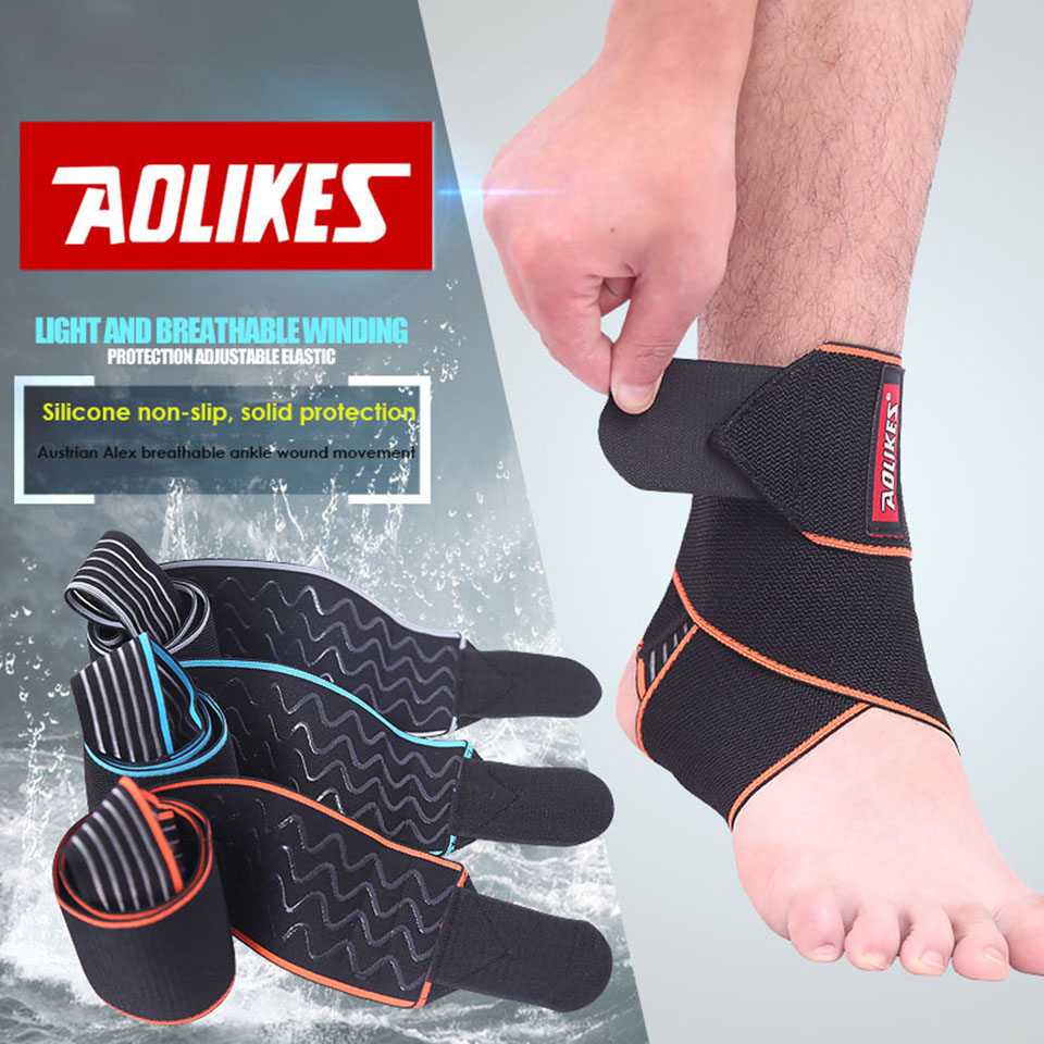 AOLIKES 1PCS Silicone Ankle Support Strap Basketball Football Professional Adjustable Ankle Sleeve Protection Ankle Brace