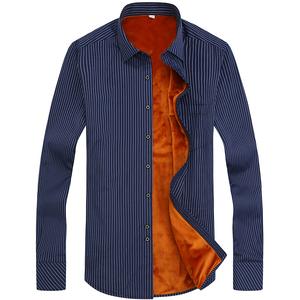 Image 2 - FillenGudd 2019 Winter 8xl plus size mens Casual Striped shirts Cheap High Quality thermal Long Sleeve Velvet big size clothing