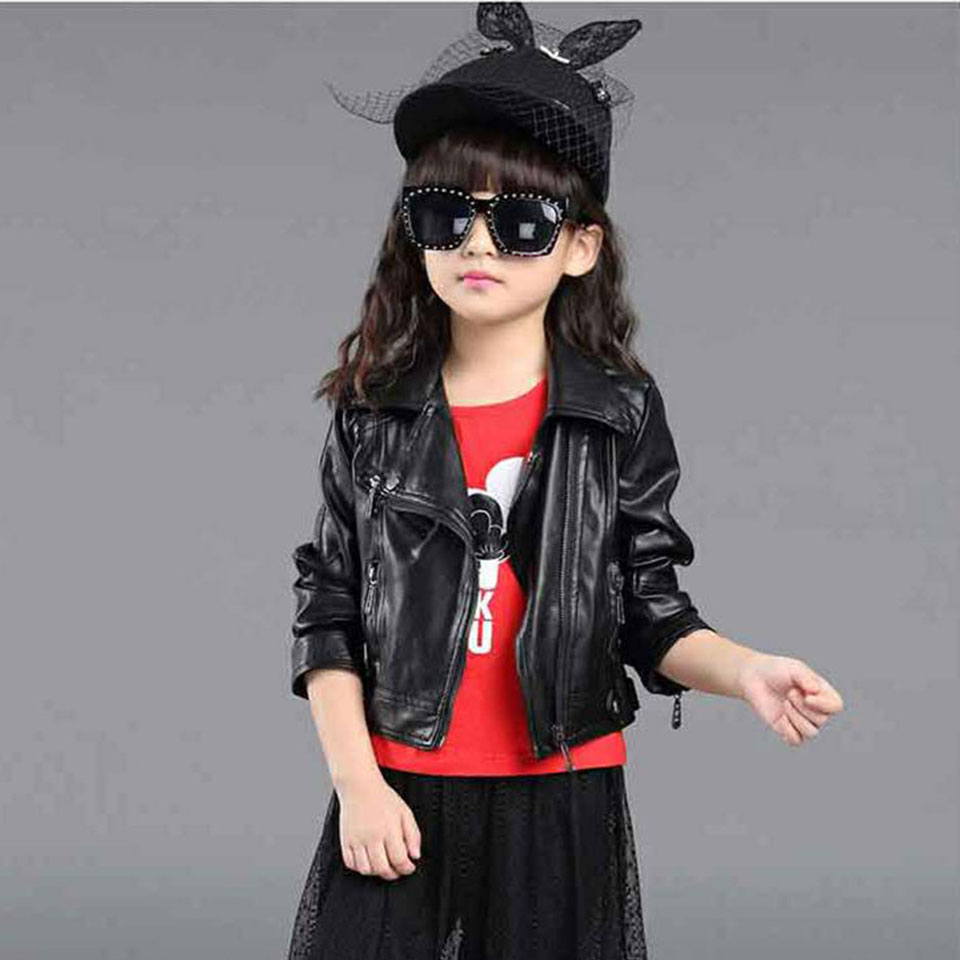 New Arrivals 3 Colors Kids Jacket Girl PU Leather Outwear Clothing Spring Autumn Fashion Short Turn-down Collar Zipper Coats