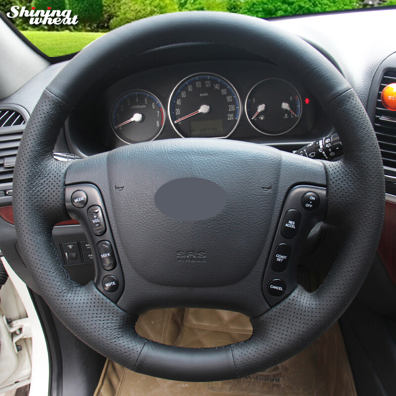 Shining wheat Black Genuine Leather Steering Wheel Cover for Hyundai Santa Fe 2006-2012