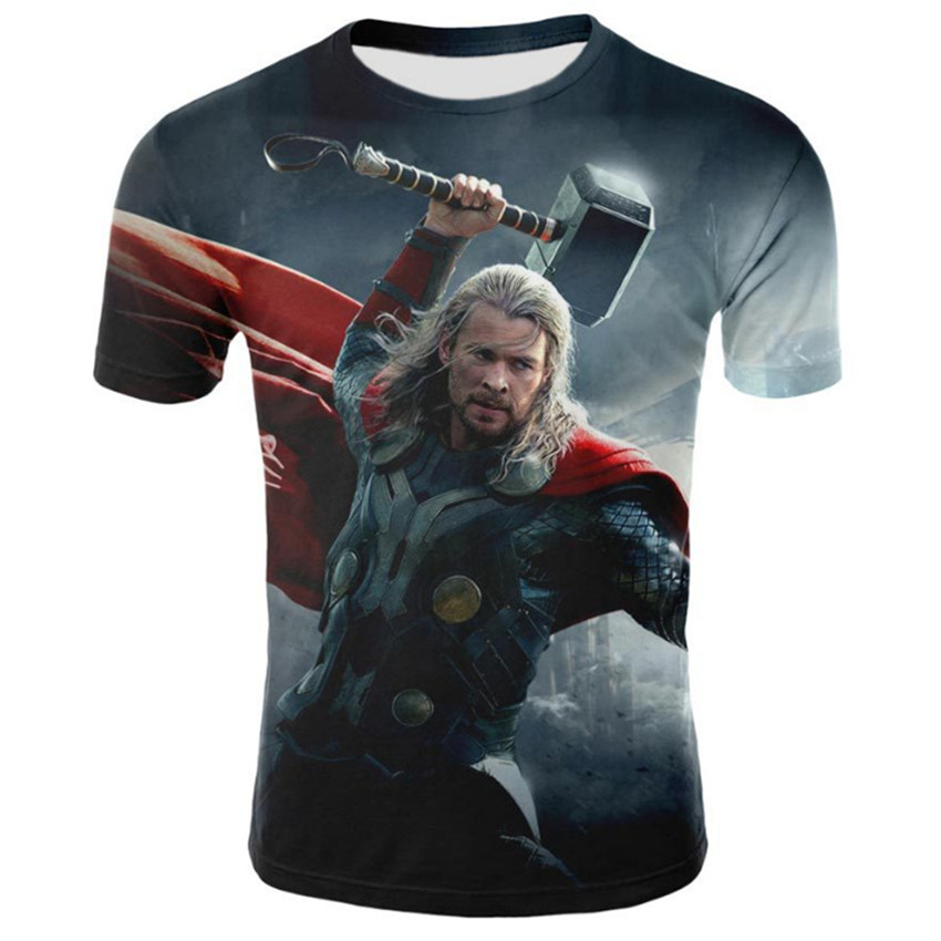 Summer new 3D printing thunder fury hip hop T-shirt men high-end fashion brand tshirt business casual big men T-shirt.