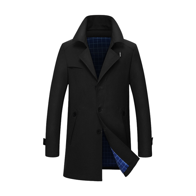 WOLF ZONE Trench Coat Men Spring and Autumn Fashion Business Casual Overcoat Classic Fit Turn-down Long Mens Jacket