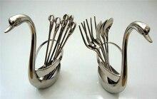 Swan Dinnerware spoon set / stainless steel fruit fork / coffee spoon / Little Swan pedestal / wedding party tableware gift set