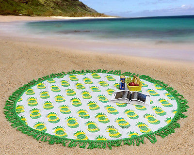 Indian Green Mandala Round Tapestry Hippie Gypsy Green Beach Throw Blanket Fruit Printed Yoga Mat Home Decor