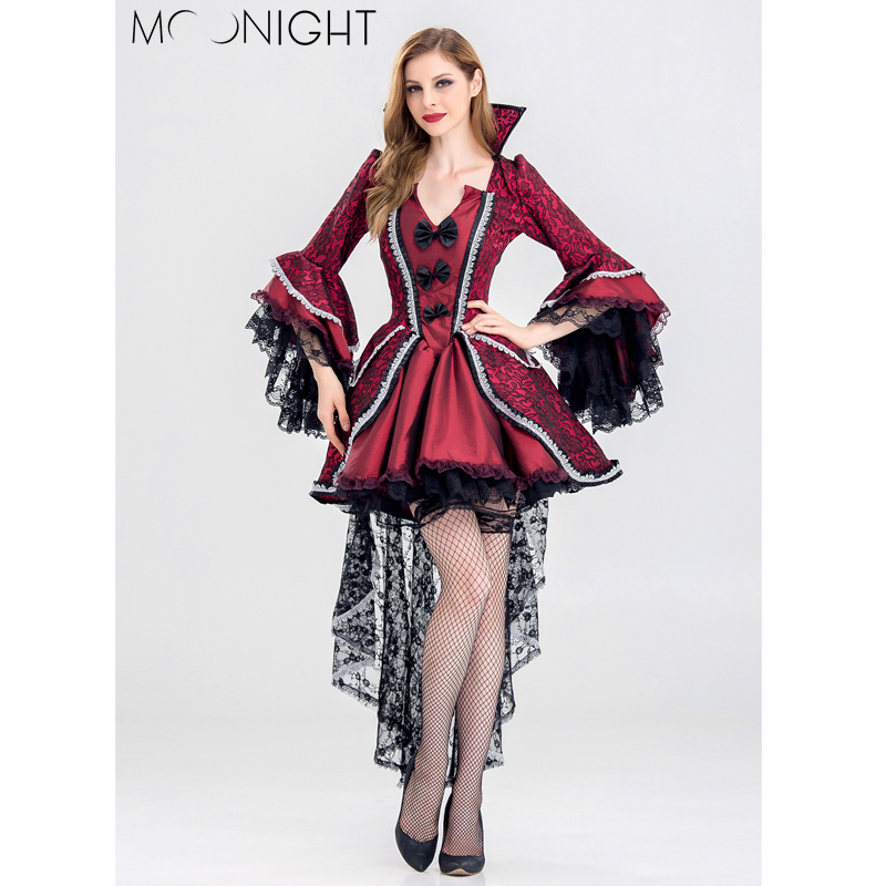 MOONIGHT Adult Witch For Woman Sexy Halloween Party Gothic Red Queen Of Witch Costumes With Bow Outfit Fancy Cosplay Dress S-2X