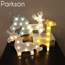 Unicorn 3D LED Night Light Novelty Fixtures Lamparas Christmas Deer Giraffe Penguin Angel Crown Led Lamp Night Lights Veilleuse