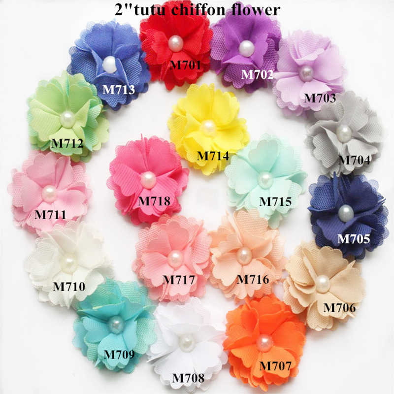 200 pcs lot 2 headbands flowers shabby flowers tutu chiffon flowers 18 colors