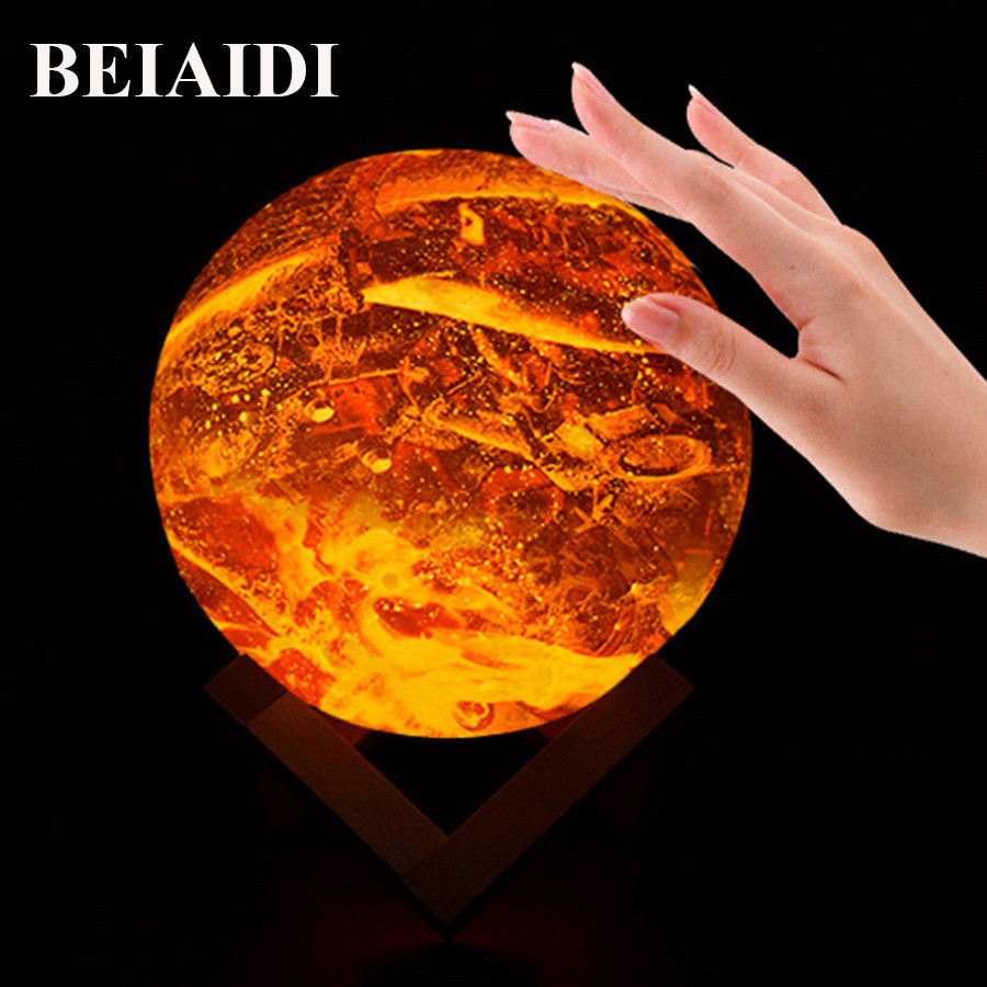 BEIAIDI Creative Flame Design 3D Moon Lamp Rechargeable Remote Control Moon LED Night Light Colorful Change Planet Night Lamp