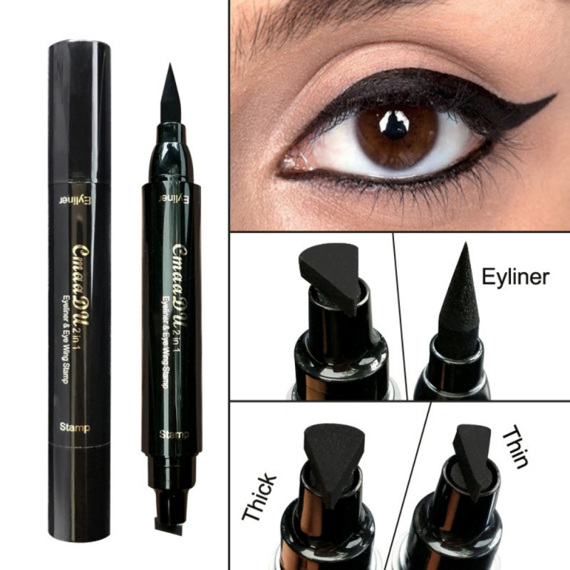 Brand Eyes Liner Stamps Liquid Makeup Pencil Waterproof Black Double-ended Makeup Waterproof Eyeliner Brush water resistant cosmetic makeup liquid eyeliner thick pen black