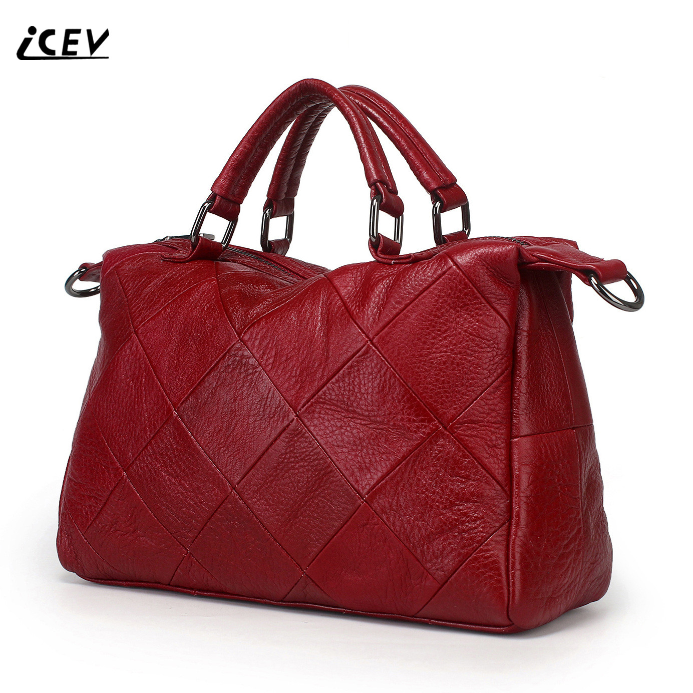 ICEV New Brands Simple Classic Female Cow Leather Designer Handbags High Quality Genuine Leather Handbags Women Leather Handbags