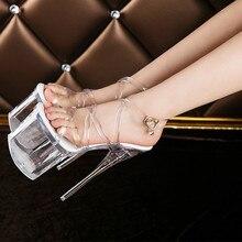 Womens lady sexy catwalk model night club pole dance transparent crystal platform 20 cm extrem high heels sandals female pumps 1