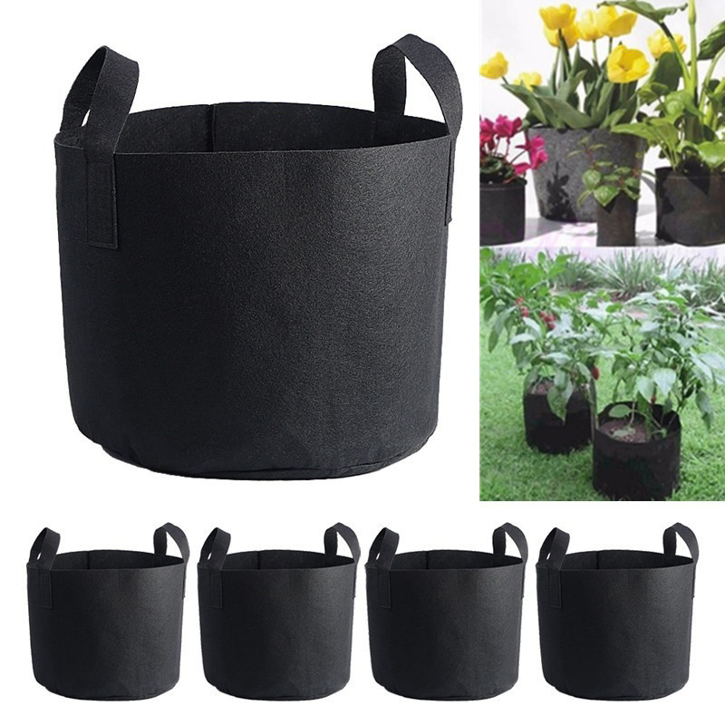 1Pc 6 Sizes Black Plant Grow Bag Container Fabric Plant Root Tools Planting Pot Vegetable Flower Pot Container Garden Supplies