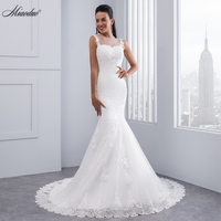 Vintage Mermaid Wedding Dress Full Length Scoop Neck Bridal Gown Sexy Cap Sleeve 2016 Bridal Wedding