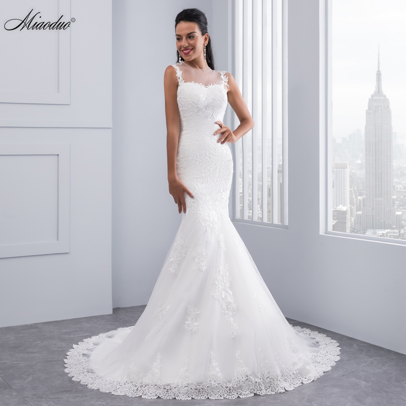 Mermaid Wedding Dresses With Sleeves: Miaoduo Vintage Mermaid Wedding Dress Full Length Scoop