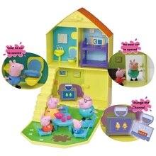 Подлинный семейный дом Свинка Пеппа красный автомобиль школьный автобус качели горка плюшевая игрушка мультфильм животное кукла детская игрушка подарок