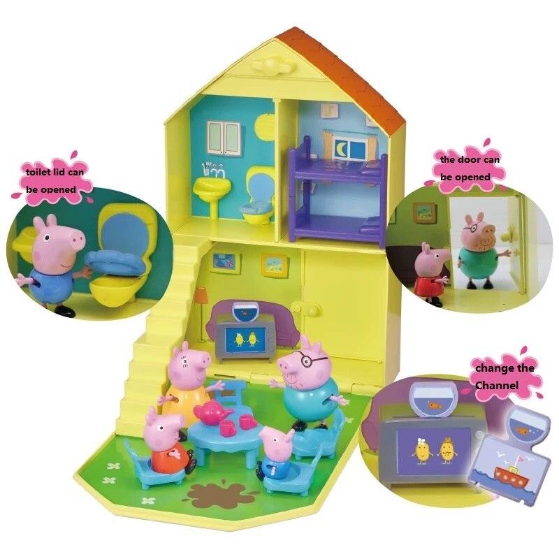 Genuine Família Peppa Pig casa vermelha ônibus escolar carro de slides balanço Brinquedo de Pelúcia Animal Dos Desenhos Animados da Boneca Crianças brinquedo de Presente