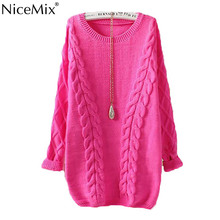 NiceMix 2016 Casual Long Knitted Sweater Women Plus Size Winter Pullovers Sweaters Loose Solid Warm Thick Pull Femme