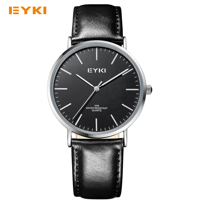 все цены на Eyki Genuine Leather Strap Men Watches Simple Ultra Thin Dial Business Quartz Watch Male Top Brand Relogio Masculino With Box онлайн