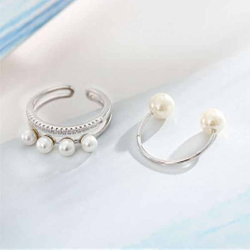 2pcs/set New Selling Size Adjustable Rings Double Layer Simulated Pearl Cubic Zircon Rings Sets Opening Women Jewelry Gifts
