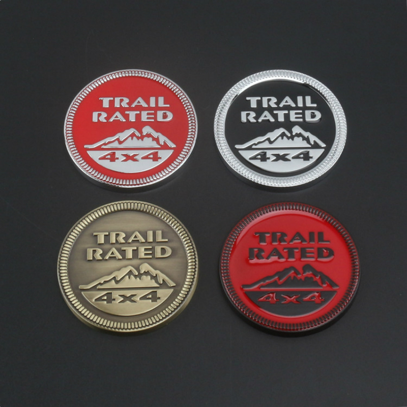 TRAIL RATED 4X4 Emblem Badge TRAIL RATED 4X4 Embl 3D Metal Car Sticker bronze/silver For JEEP Renegade Wrangler Cherokee Compass