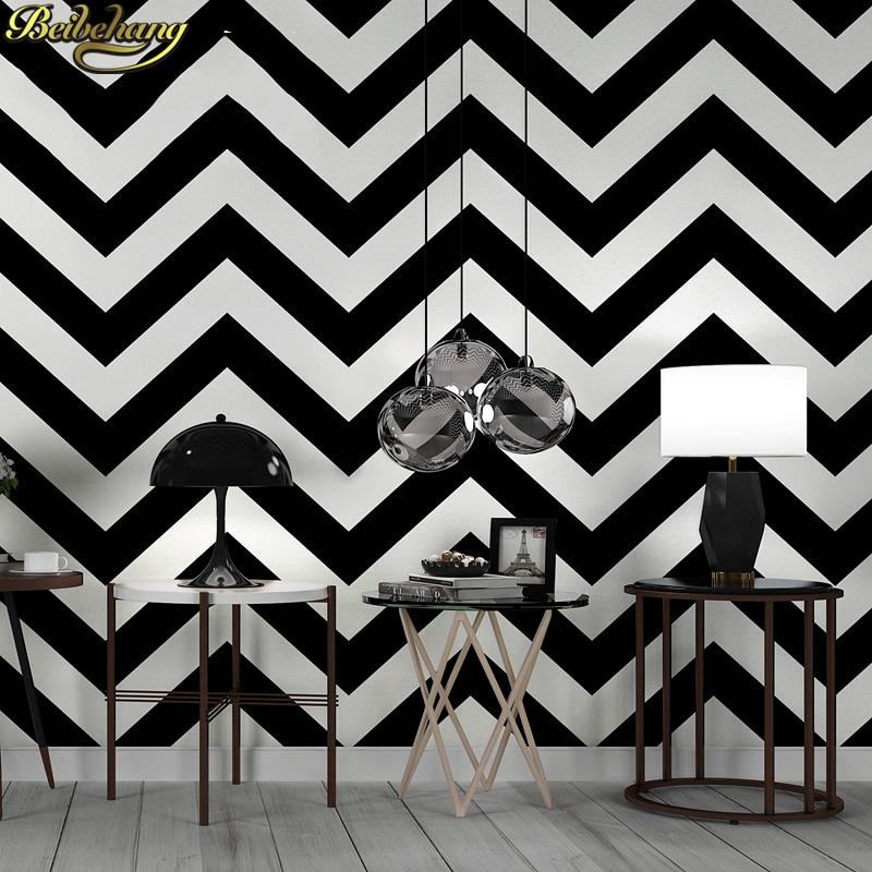 US $30.55 35% OFF|Beibehang Luxus 3D Schwarz weiß streifen Tapete  Beflockung vlies Tapete Rolle Wohnzimmer schlafzimmer TV wandbild Wand  Papier ...