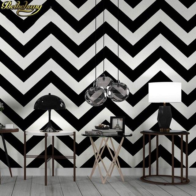 Beibehang Luxury Black White Stripes Wallpaper Flocking Non Woven Roll Living Room Bedroom