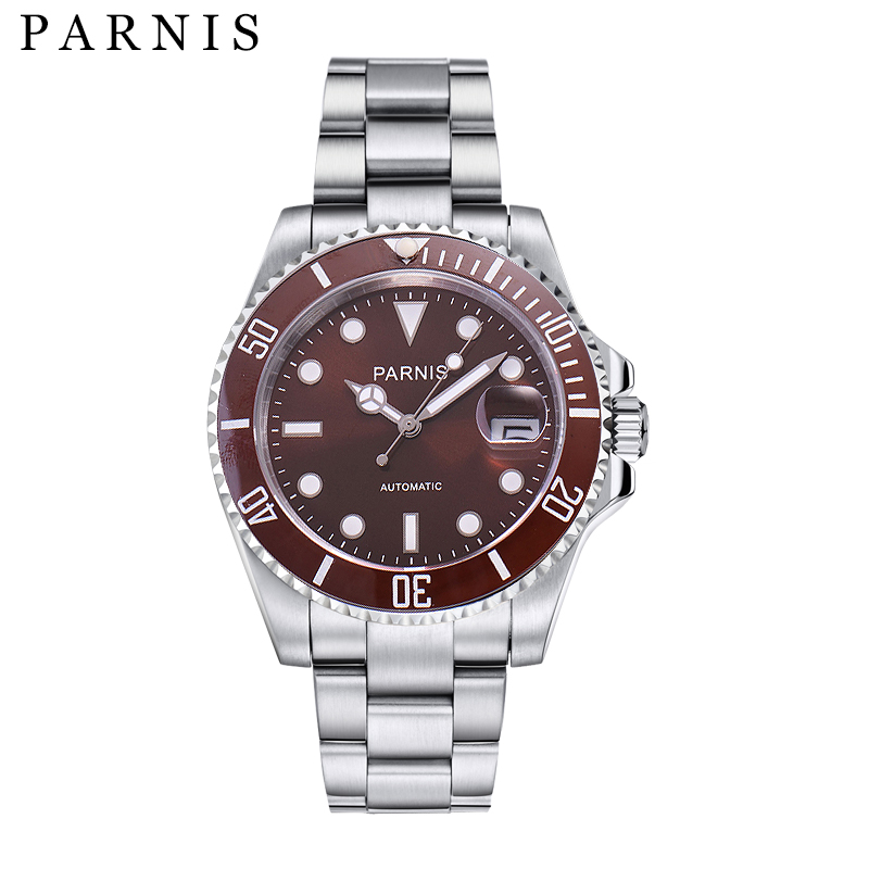 40mm Parnis Luxury Brand Top Mechanical Watch Men Casual Fashion Automatic Watch Men Rotating Ceramic Bezel Stainless Steel Band top brand luxury mens mechanical watches parnis 41mm full stainless steel automatic watch men rotating bezel luminous wristwatch