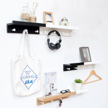 Nordic Style Creative Partition Shelf Wall Hanging Solid Wood Hook Shelf Set-top Decor Wall Shelves Coat Hooks DIY Home Decor