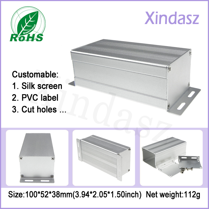 wall mounted aluminum ballast enclosure metal distribution box Aluminium Extrusion Case 100*52*38mm 1 piece free shipping aluminium enclosure case aluminium extruded enclosure in silver color smooth surface silver color box