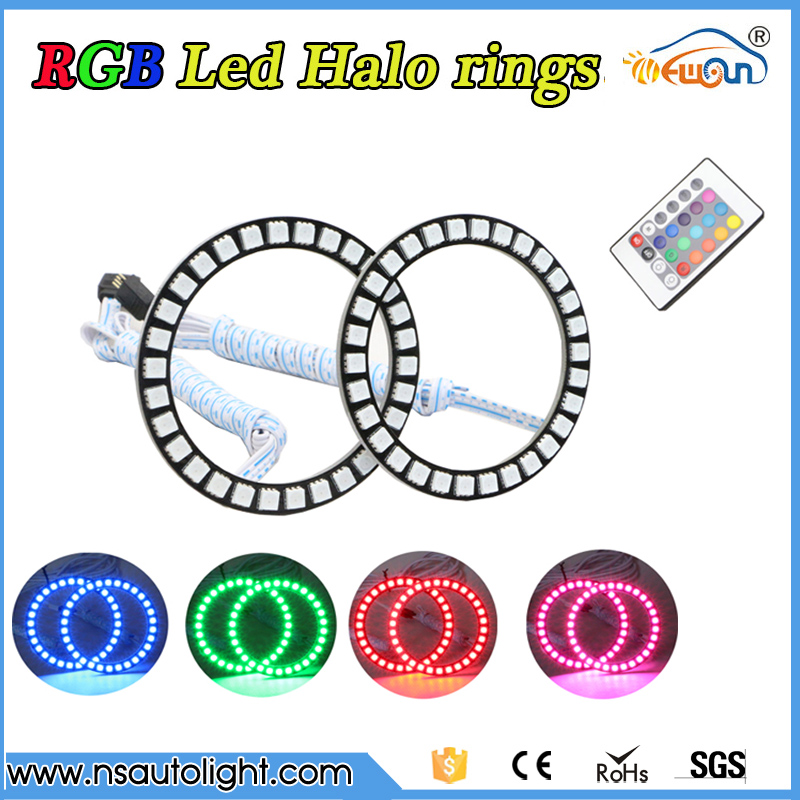 2 pieces 5050 smd  LED RGB Halo remote Control Angel Eyes Ring kit  2x 40/50/60/66/72/75/80/90mm Led Halo Rings Full Circle 4 90mm rgb led lights wholesale price led halo rings 12v 10000k angel eyes rgb led angel eyes for byd for chery for golf4