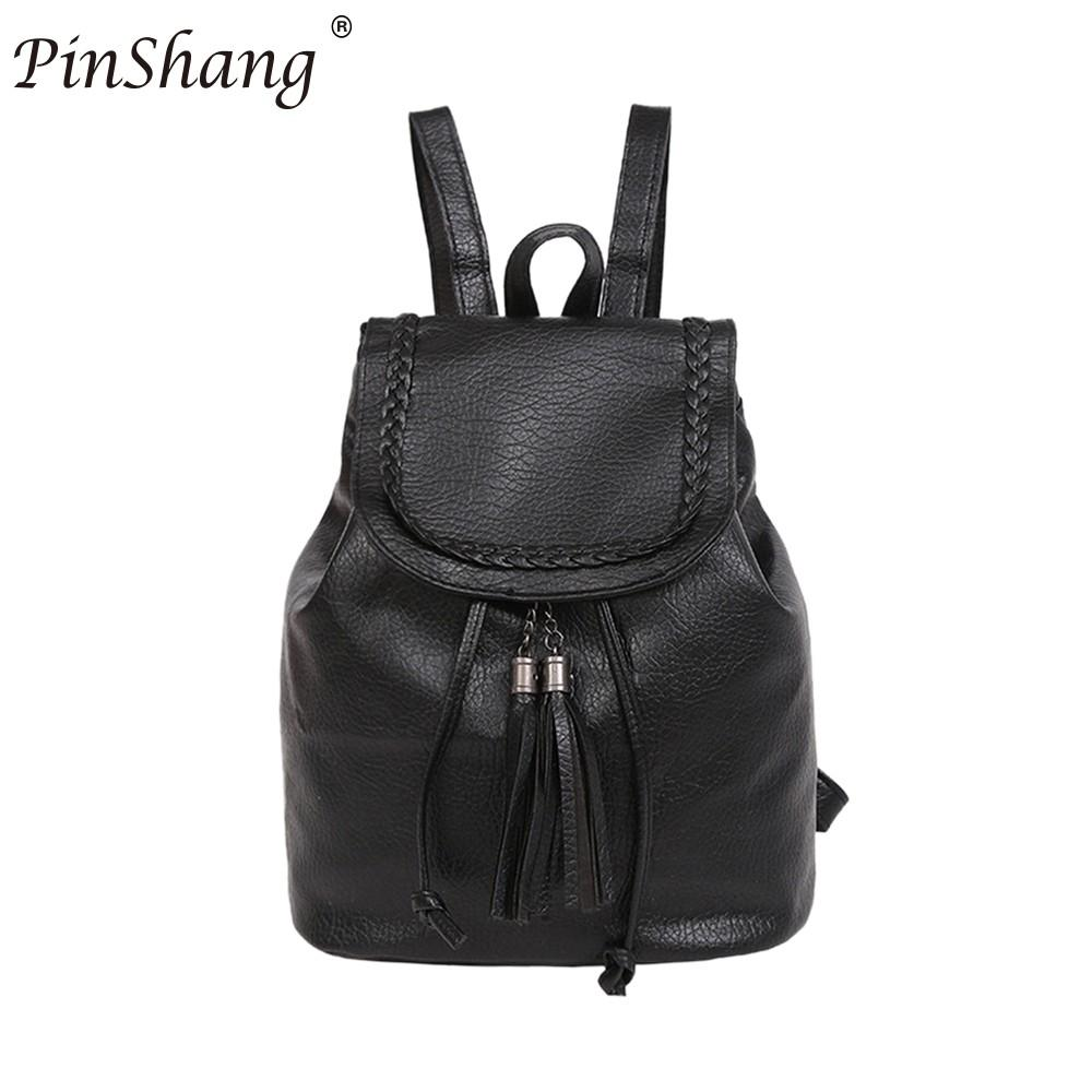 PinShang Women Soft PU Leather Backpack Preppy Student Braid Tassel Schoolbag Girls Casual Travel Shoulder Bags Black ZK35
