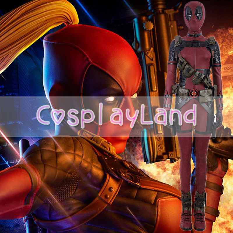 Lady Deadpool Cosplay Costume Carnival Halloween Superhero Costumes Fancy Costume Wanda Wilson Cosplay Women Deadpool Jumpsuit