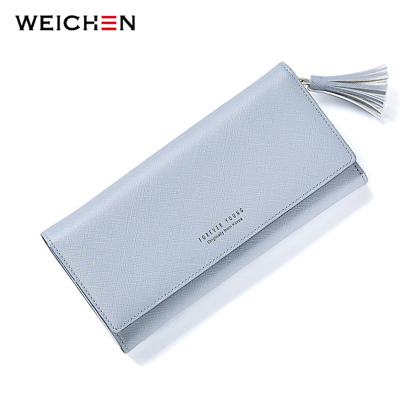 WEICHEN Long Hasp Tassels Wallet For Women, Solid Color Change Purse Coin Pocket Card Holder Fashion Lady Wallets Clutch Female fashion hasp and solid color design wallet for women