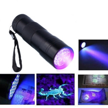 9 светодиодный ультрафиолетовая лампа 365nm 395nm Светодиодный УФ фонарик светильник ультрафиолетового флэш светильник фонарь светильник Ультрафиолетовый флэш светильник 395nm черный светильник