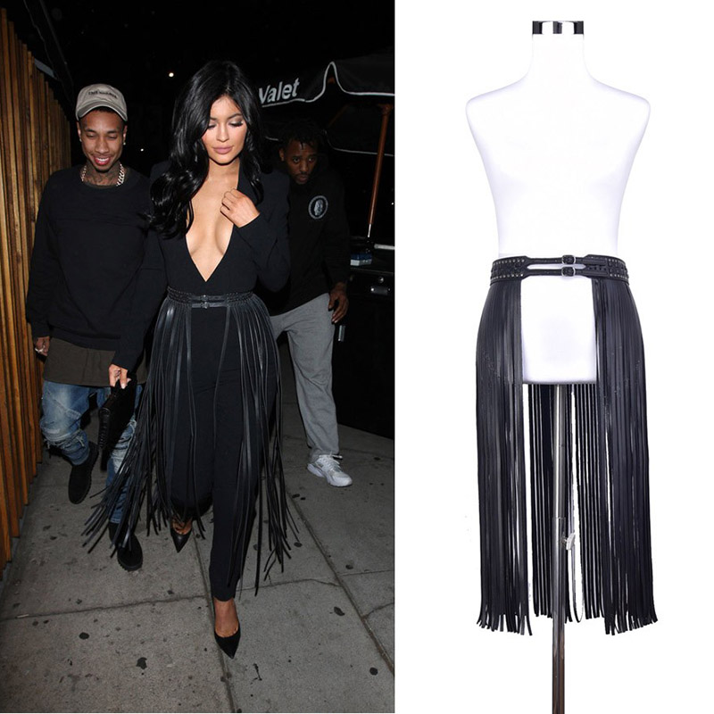 Badinka 2019 New Women Sexy Long Black Faux PU Leather Tassel Fringe Belt Skirt Female Double Pin Buckle Corset Waistband Belts