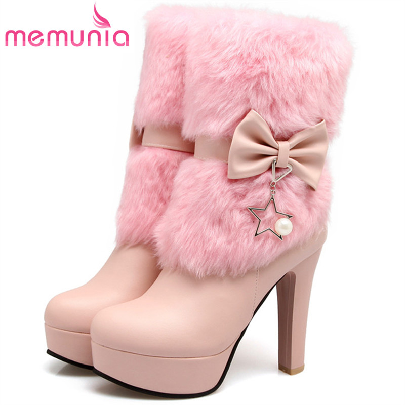 MEMUNIA 2018 Early winter ankle boots for women PU soft leather high heels boots female zop solid platform boots big size 34-43 memunia big size 34 44 high heels shoes woman pu soft leather platform boots female zip solid ankle boots for women round toe