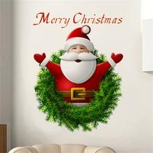 20*27CM Mini Size Santa Christmas Wall Sticker Quote Wall Decals Art Decorative Shop Glass Window Sticker Bedroom Home Decor